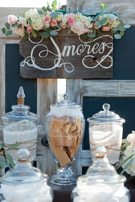 Interactive and fun winter wedding ideas: the S'mores bar. Who can resist?