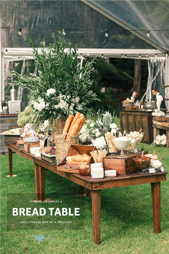 Accompany your grilled cheese station with a bread and charcuterie table. Created by Coastside Couture.