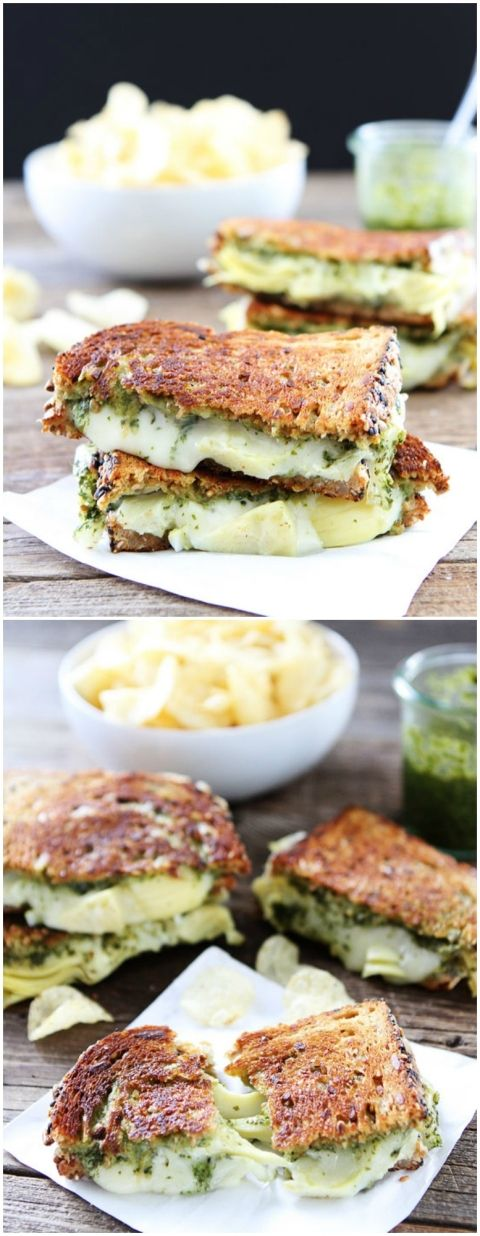The grilled cheese station will be brimming with guests trying to get their hands on these. Made with spinach, basil pesto, artichoke hearts, and creamy Havarti cheese.