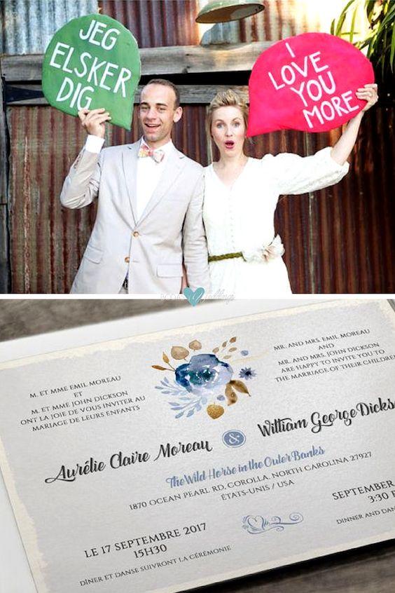 Participa a tus invitados con save the date o invitaciones de boda bilingües.