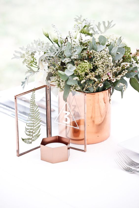 Marble and copper winter wedding ideas.