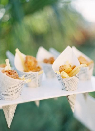Mini fish & chip cones. How original is that?