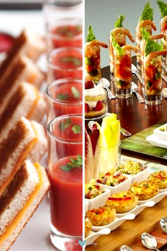 Mini foods for weddings pairing ideas. Mini shooters of shrimp or tomato soup to accompany mini grilled cheese sandwiches or mini quiches and salads.