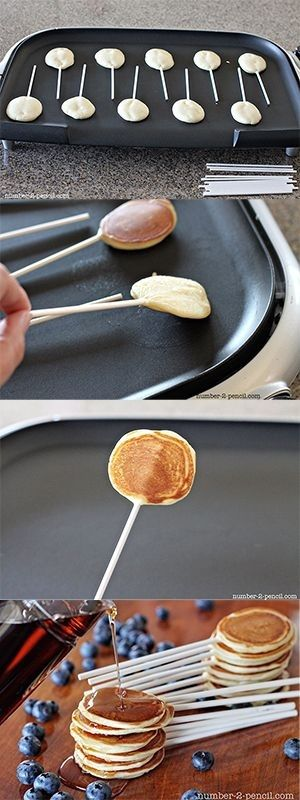 Mini pancake pops for a very interative buffet. Serve with a choice of squash, goat's cheese and rosemary or caramel sauce. Let your guests take their pick!