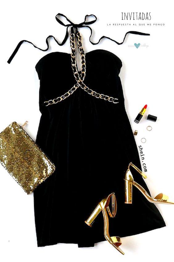 Negro solo no, pero negro y dorado es perfecto para una boda de noche de Shein.