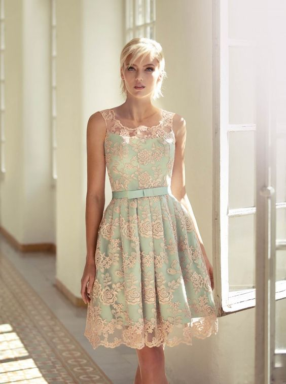 Love the youthful look the texture juxtaposition gives to this short dress.