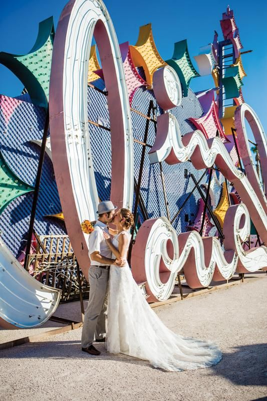 Gorgeous and original vegas wedding locations. The Neon Museum. Photo: Laura Grier of Beautiful Day Photography.