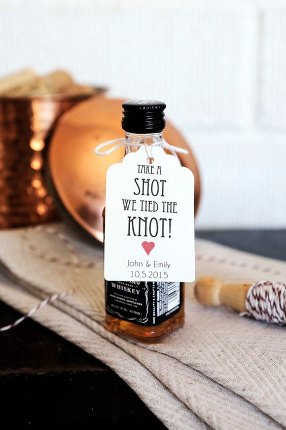 These little tags will add lots of charm to your wedding favors and a shot of whiskey will warm up even the coldest of nights.