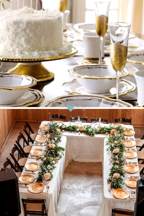 Winter wedding ideas. Gorgeous tablescape in white and gold. U-shape wedding table a cozy and festive idea for winter weddings.