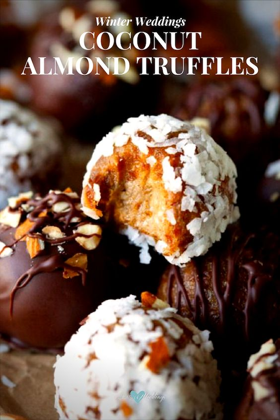 Winter wedding ideas for a dessert table. Coconut almond truffles.