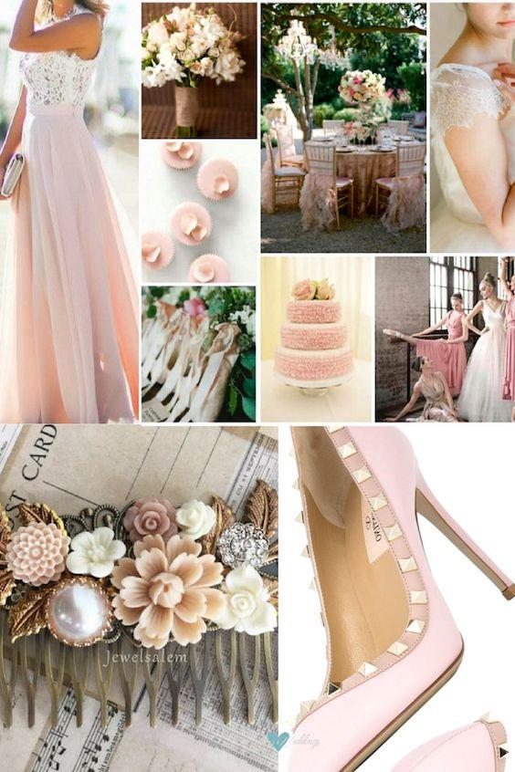 Boda Ballet Slippers o rosa palo con toques de rosa mas fuerte. Femenina y juvenil.