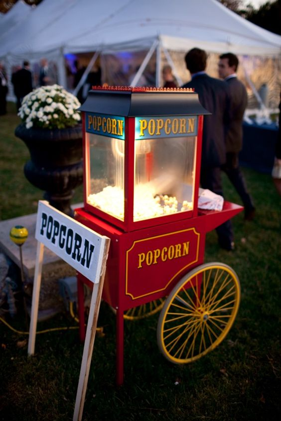 Popcorn machine at a wedding. Sounds delicious, amiright?