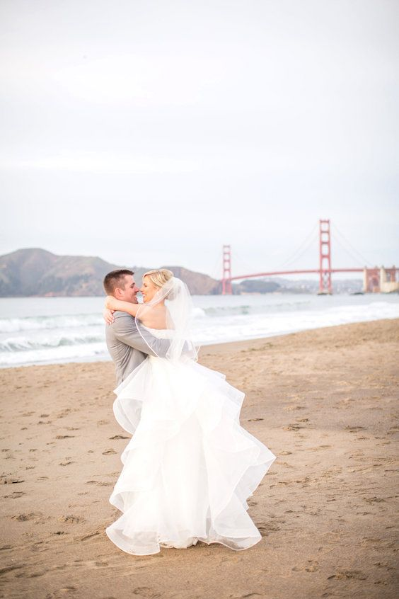 San Francisco couples may choose to get married in front of the Golden Gate. Wedding planners & photography: Pop the Knot.