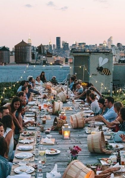 A fab wedding after-party at a NYC rooftop. Definitely on fleek.