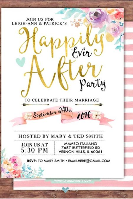 Happily ever after party invitation with a Boho look by LyonsPrints.