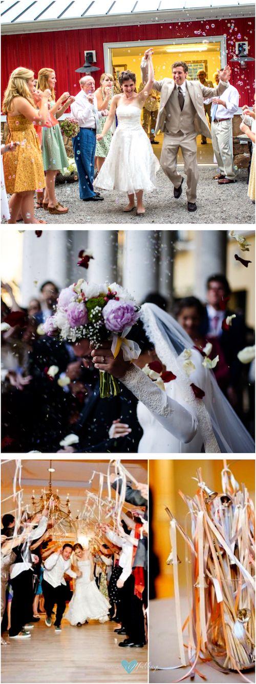 Alternativas al arroz de boda: burbujas, cintas con cascabeles y flores.