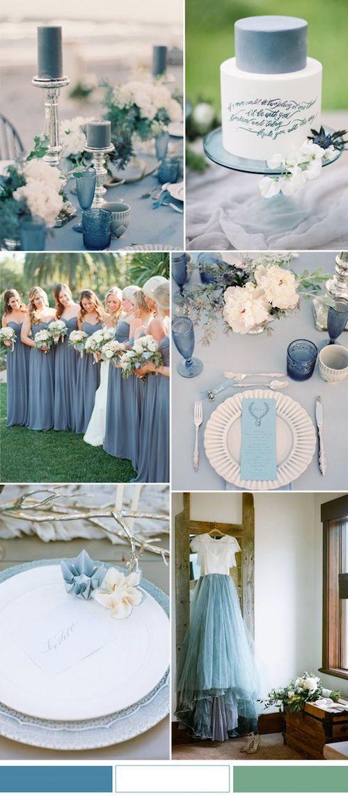 Mezcla de azul marina y niagara para una boda relajada y al aire libre.