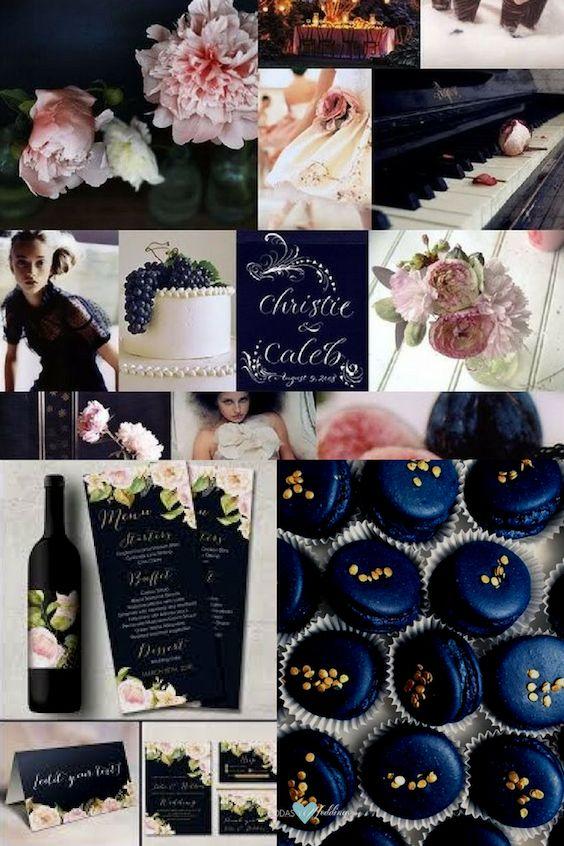 Azul marino oscuro o navy peony con toques en rosa palo y dorado. Delicado y encantador.