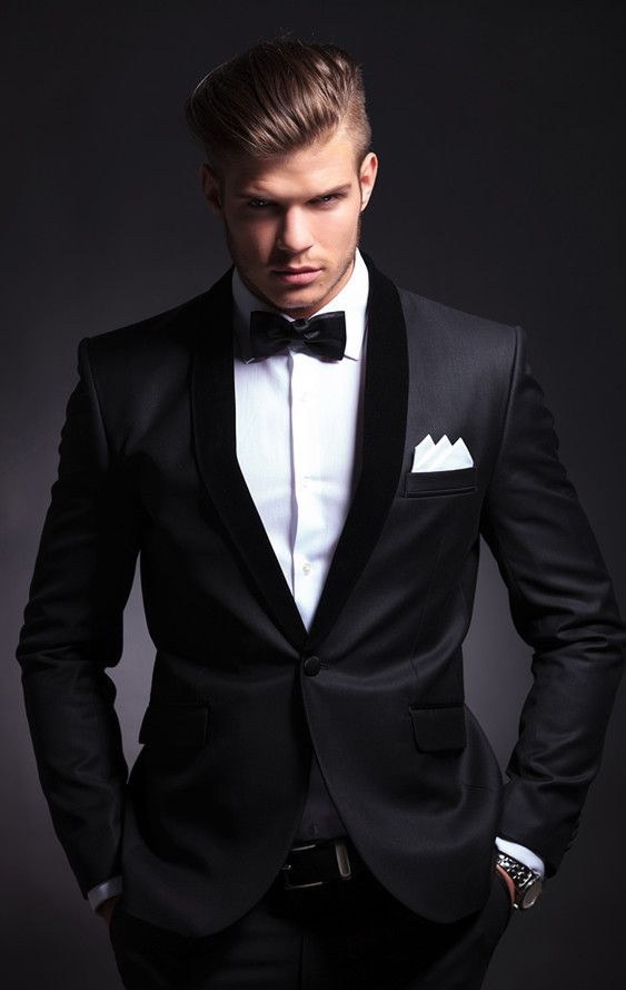Black tuxedo. Did anybody say Bond? By Xamns. Find out about types of wedding suits for grooms & how to find your best fit.