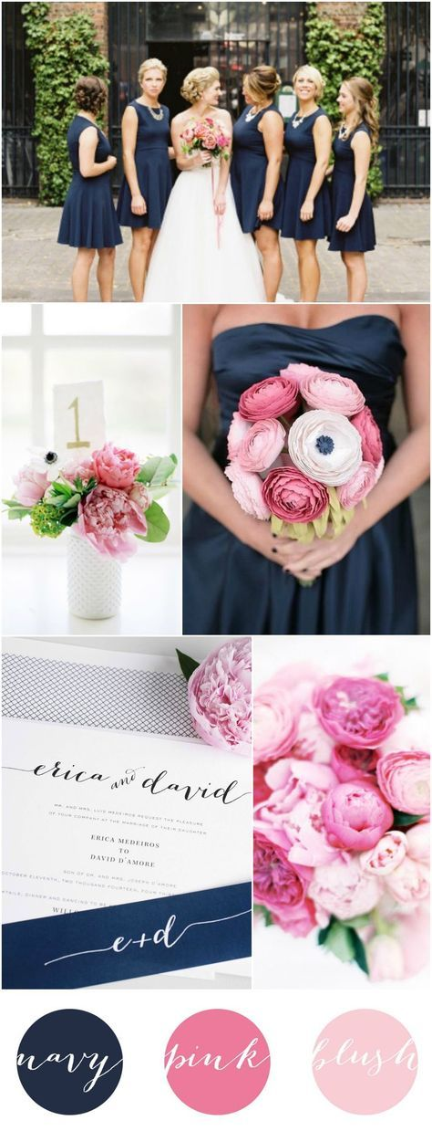 Un look clásico y la combinación perfecta para una boda romántica y moderna. Navy Peony, Rosa Palo y Blush.
