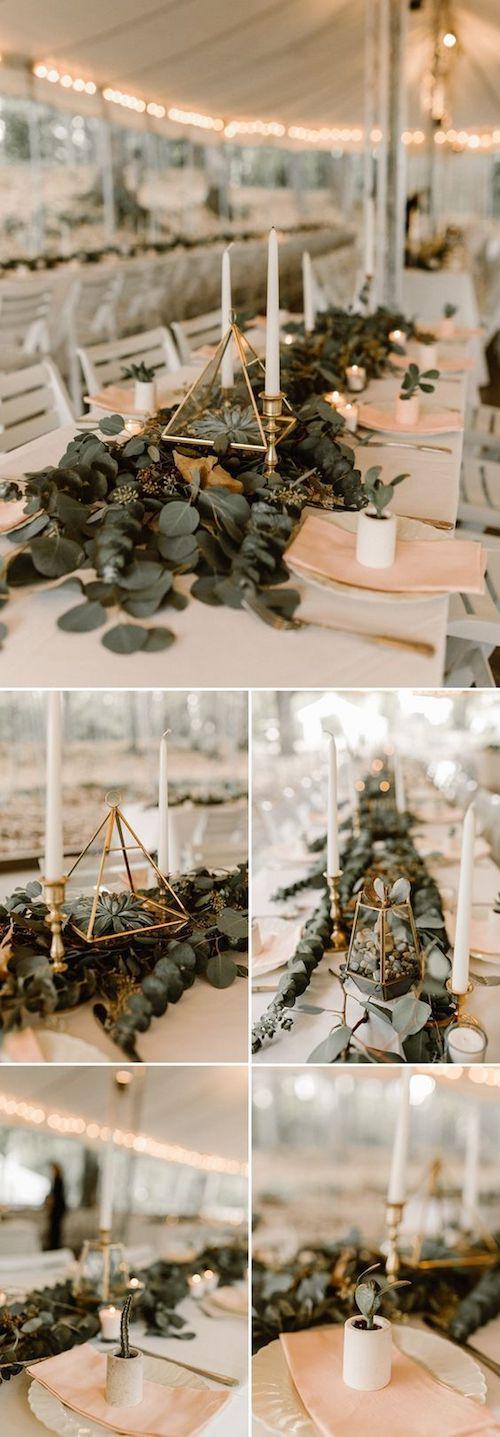 Suculentas y formas geométricas para una boda glam. Foto: Vic Bonvicini Photography.