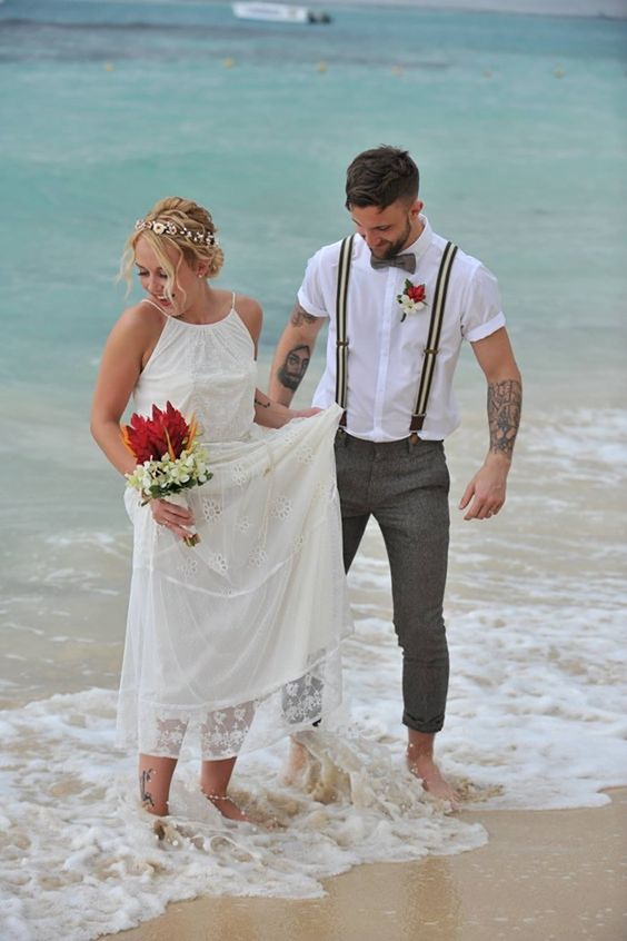 Casual beach wedding attire for the groom.