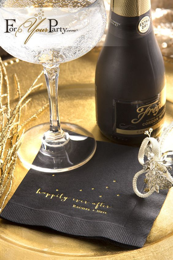 Don't forget the champagne and some personalized napkins. (foryourparty)