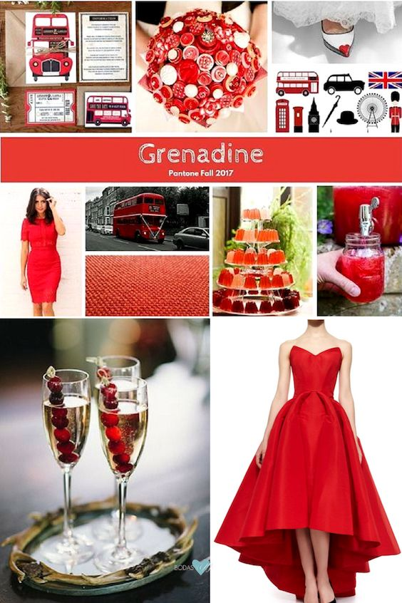 Un color ideal para una boda festiva, el rojo escarlata luce entre los colores de la temporada invernal 2017.