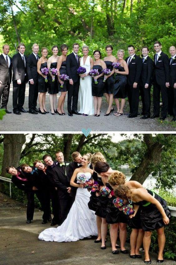 Diferentes tipos de fotos que puedes tomar en tu boda con tu cortejo nupcial.