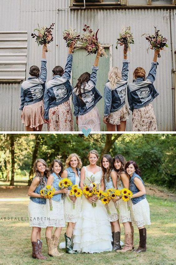 Damas de honor con chaquetas en denim tanto para una boda en el campo como en la city. Fotografía: Raquel Benito.