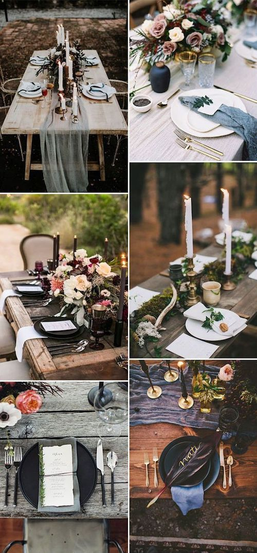 Dark and moody navy blue palette. A super chic option for fall brides. Elegant, dramatic and so unique. Try dark purple, red and green colors with grey, black and brown to achieve that romantic look.