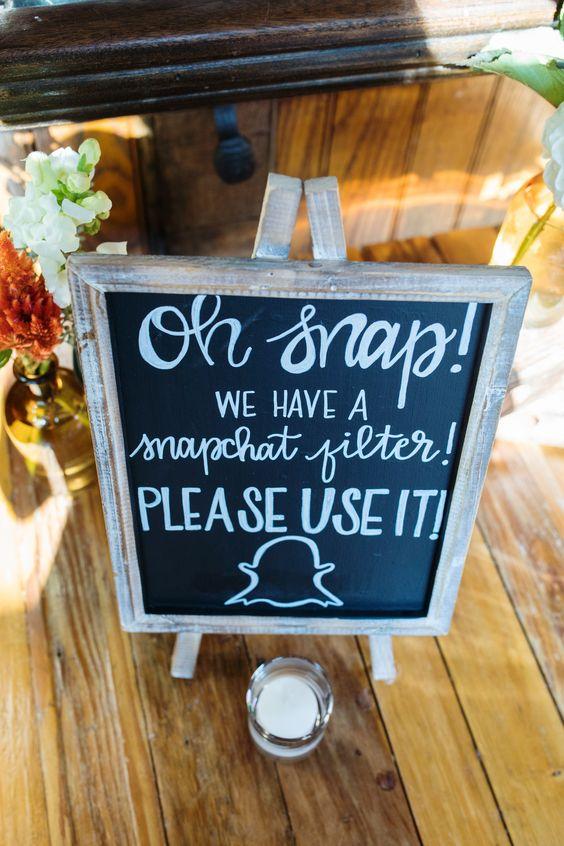¿Hashtags? ¿Que eran? Los filtros de Snapchat son la última tendencia en bodas.