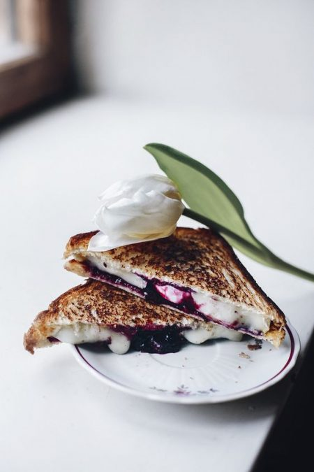 Welcome the morning after with some goat cheese and jam grilled cheese sandwiches.