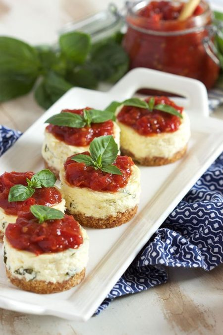 Light, airy and creamy mini basil parmesan cheesecakes.