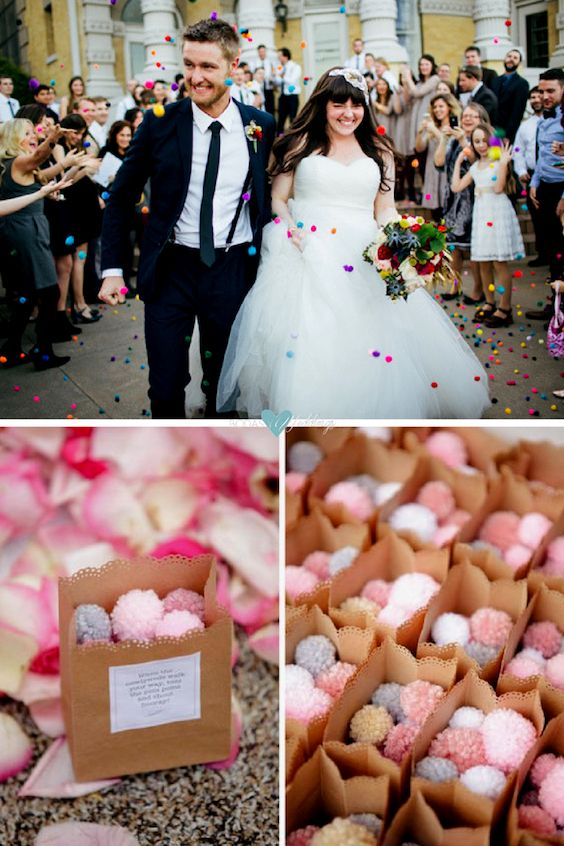 Mini pompones para lanzar en lugar del arroz de boda. Suaves, coloridos y simpáticos.