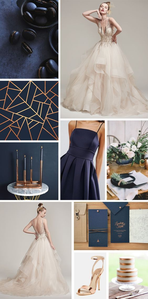 Super stylish and luxurious with a contemporary, modern feel navy blue and copper is perfect for winter weddings.
