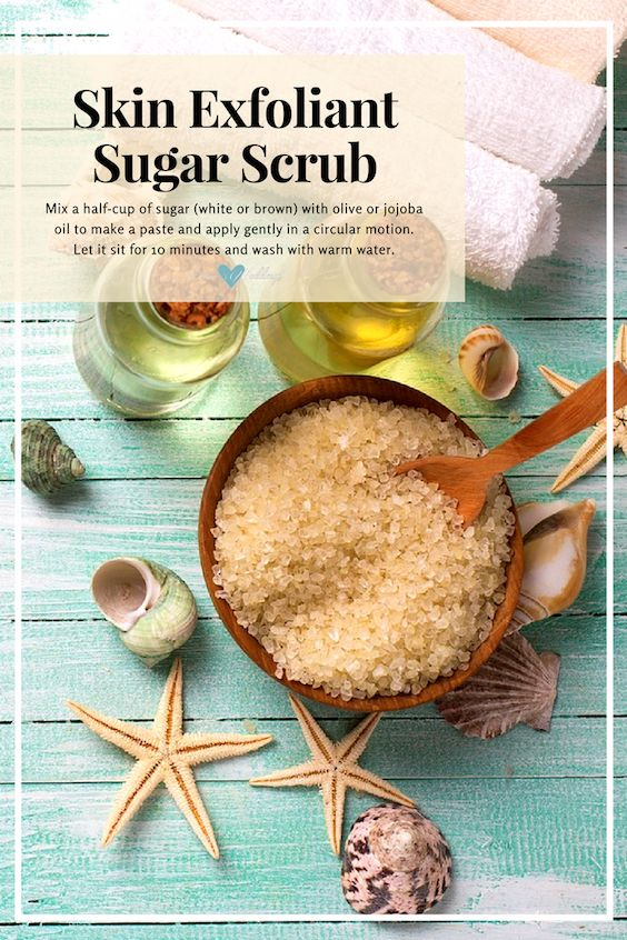 Natural skin exfoliant: sugar scrub formula.