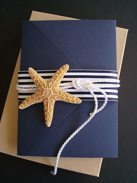 Navy blue and nautical motif go hand in hand. What do you think of this invitation? Super cute. right? By brasspaperclip.
