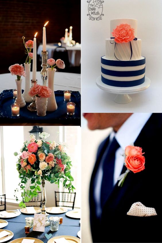 Glam spring wedding with a coral and navy blue palette. Coral charm peonies, garden roses, free spirit roses, smilax, stock, vibernum in a tall centerpiece for a garden style design, Ben Q Photography. Cake by The Cake Witch