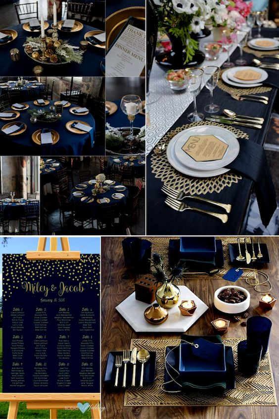 Navy blue and gold. Impressive, non-traditional wedding ideas. Add navy blue with gold lettering to your seating chart and helps guests find their seats in style.