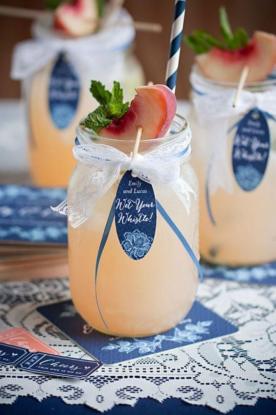 Love this combo of navy peony and peach for rustic wedding drinks.