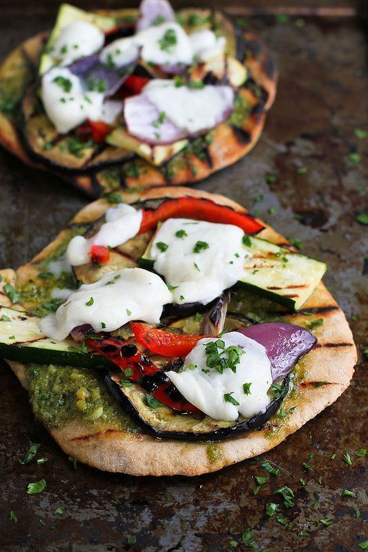 Grilled pesto vegetable pizzas for your post-ceremony reception. A vegetarian meal with fantastic smoky flavor. Recipe: Cookin' Canuck.