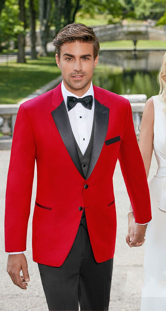Red is coming strong for 2018. How about a red tuxedo with black satin notch lapel by perfecttux?