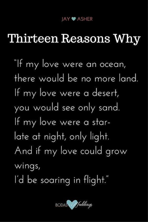 """Thirteen Reasons Why"" romantic love poem."