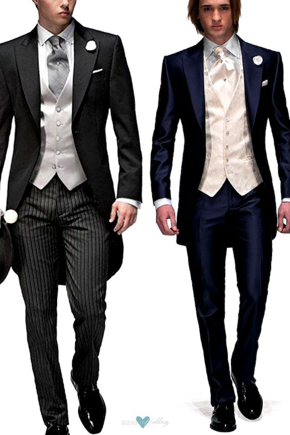 Modern and vintage variations of the evening tailsuit. Morning suit with tailcoat, a formal and vintage look. Modern variation of the evening tail suit in dark navy blue and ivory by OnGala.