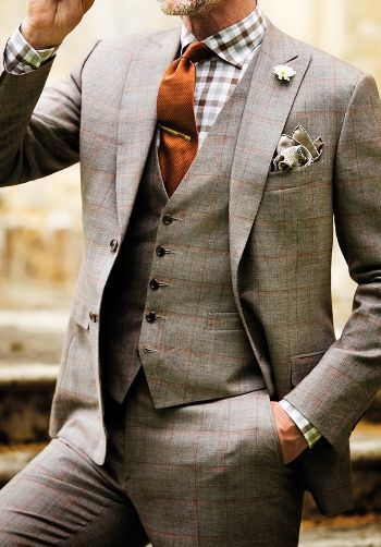 Three piece tweed suit for a winter wedding.