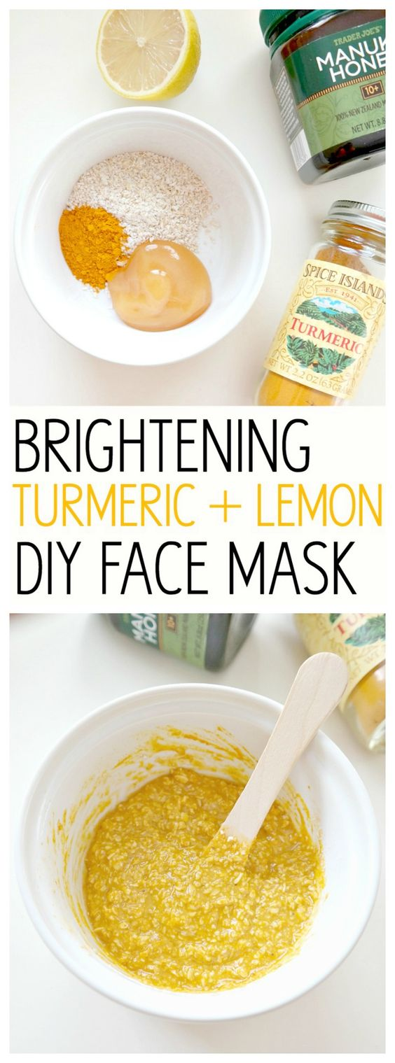 Brightening turmeric and lemon DIY face mask, perfect for acne-prone skin, evening out skin tone and rejuvenating radiance. Helps retain moisture and a glowy complexion.