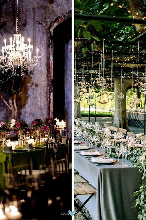 Dos maneras de incorporar el verde bosque en tu recepción de bodas: green spruce y tawny port y green spruce y marina.