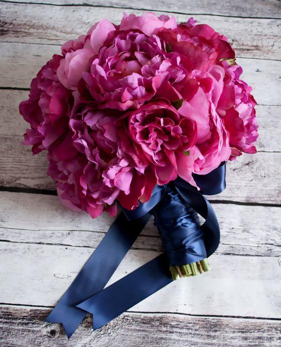 Fuchsia and navy peony wedding bouquet by KateSaidYes on Etsy.