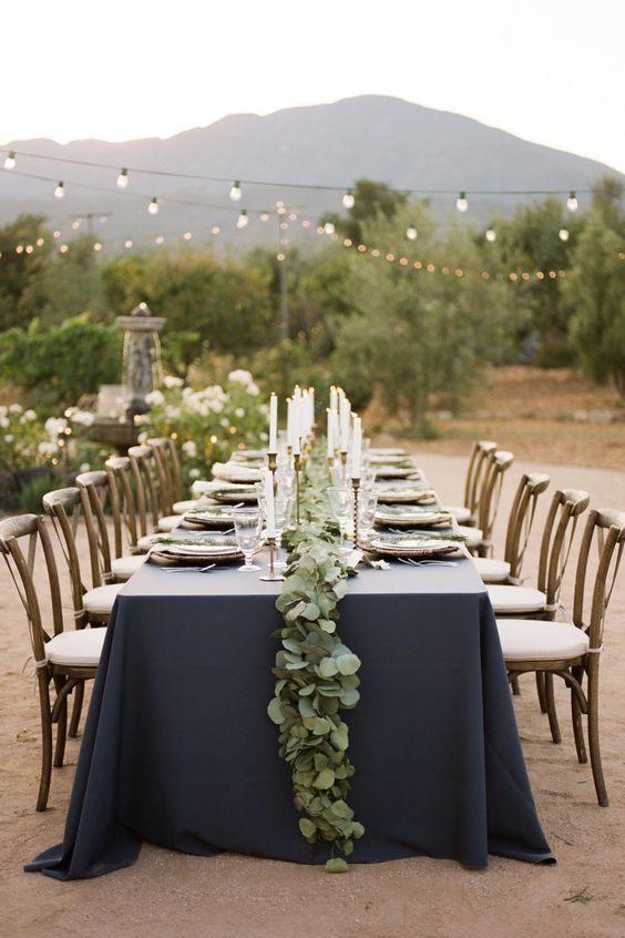Out of all the wedding color schemes, navy blue combinations steal my heart, like this intimate wedding at Ojai Valley in SoCal.